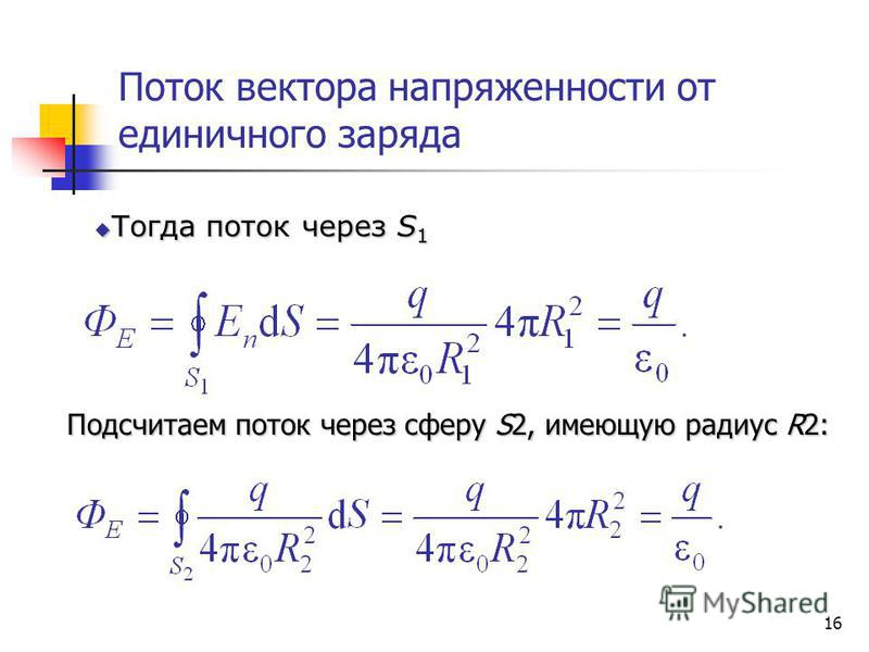 16 Поток вектора напряженности от единичного заряда Тогда поток через S 1 Тогда поток через S 1 Подсчитаем поток через сферу S2, имеющую радиус R2: