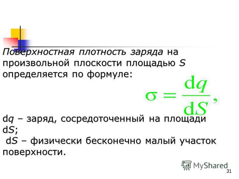 31 Поверхностная плотность заряда на произвольной плоскости площадью S определяется по формуле: dq – заряд, сосредоточенный на площади dS; dS – физически бесконечно малый участок поверхности. dS – физически бесконечно малый участок поверхности.