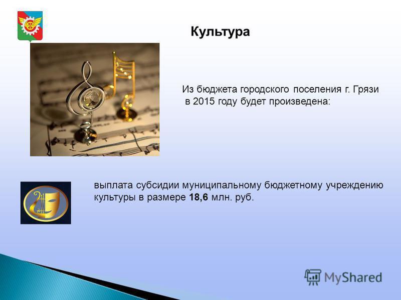 Культура Из бюджета городского поселения г. Грязи в 2015 году будет произведена: выплата субсидии муниципальному бюджетному учреждению культуры в размере 18,6 млн. руб.