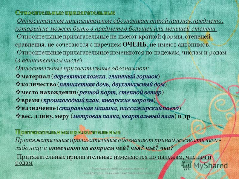 12 Преподаватель русского языка и литературы Левкина Светлана Георгиевна