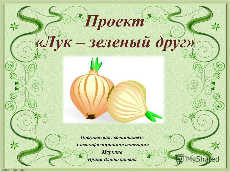 Проект «Лук – зеленый друг» Подготовила : воспитатель I квалификационной категории Маркина Ирина Владимировна