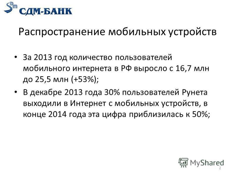 Распространение мобильных устройств За 2013 год количество пользователей мобильного интернета в РФ выросло с 16,7 млн до 25,5 млн (+53%); В декабре 2013 года 30% пользователей Рунета выходили в Интернет с мобильных устройств, в конце 2014 года эта ци