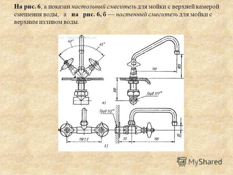 На рис. 6, а показан настольный смеситель для мойки с верхней камерой смешения воды, а на рис. 6, б настенный смеситель для мойки с верхним изливом воды.