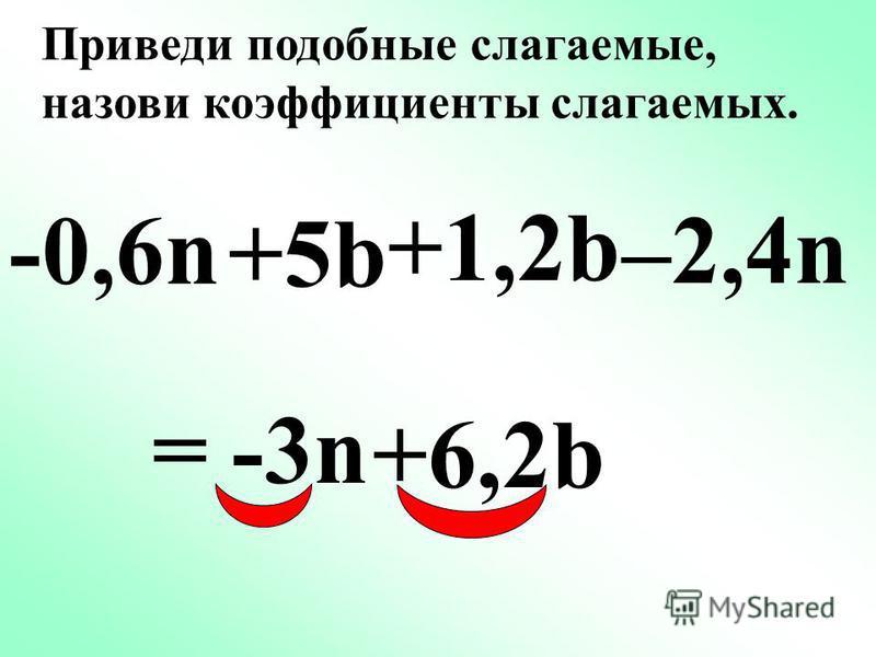 -6a +5b +2a -8b =-4a -3b Приведи подобные слагаемые, назови коэффициенты слагаемых. =