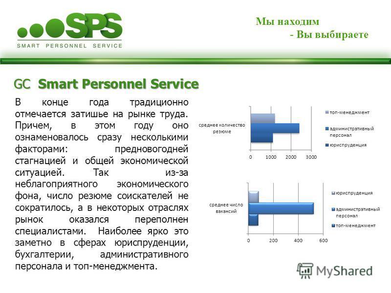 GC Smart Personnel Service Мы находим - Вы выбираете В конце года традиционно отмечается затишье на рынке труда. Причем, в этом году оно ознаменовалось сразу несколькими факторами: предновогодней стагнацией и общей экономической ситуацией. Так из-за