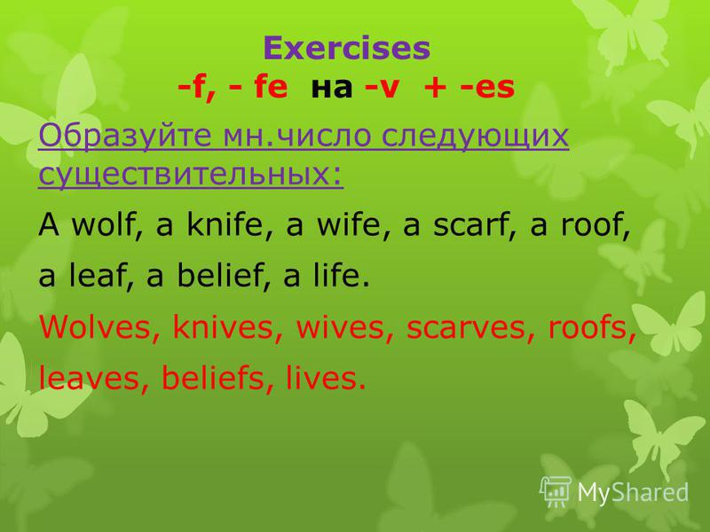 Exercises -f, - fe на -v + -es Образуйте мн.число следующих существительных: A wolf, a knife, a wife, a scarf, a roof, a leaf, a belief, a life. Wolves, knives, wives, scarves, roofs, leaves, beliefs, lives.