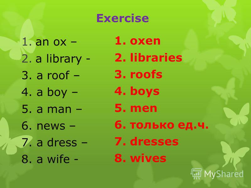 Exercise 1.an ox – 2.a library - 3. a roof – 4. a boy – 5. a man – 6. news – 7. a dress – 8. a wife - 1. oxen 2. libraries 3. roofs 4. boys 5. men 6. только ед.ч. 7. dresses 8. wives