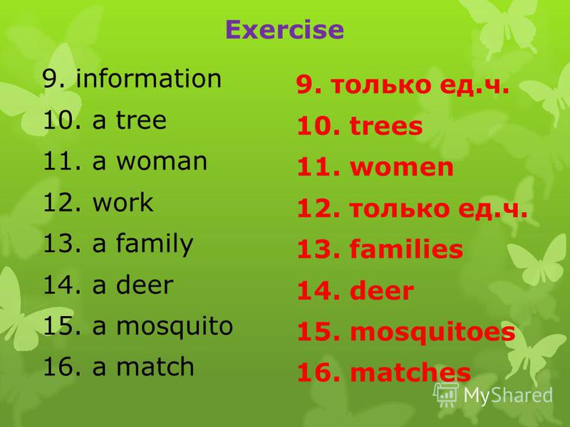 Exercise 9. information 10. a tree 11. a woman 12. work 13. a family 14. a deer 15. a mosquito 16. a match 9. только ед.ч. 10. trees 11. women 12. только ед.ч. 13. families 14. deer 15. mosquitoes 16. matches