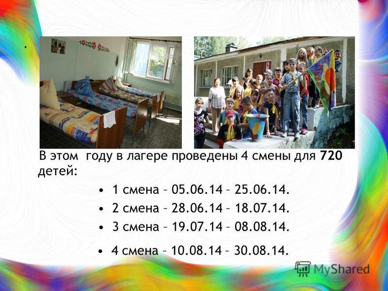 . В этом году в лагере проведены 4 смены для 720 детей: 1 смена – 05.06.14 – 25.06.14. 2 смена – 28.06.14 – 18.07.14. 3 смена – 19.07.14 – 08.08.14. 4 смена – 10.08.14 – 30.08.14.