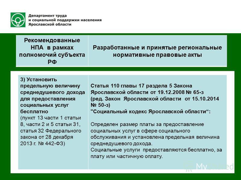 Федерального закона от 28 декабря 2013 442-ФЗ Разработанные и принятые нормативные акты Ярославской области 3) Установить предельную величину среднедушевого дохода для предоставления социальных услуг бесплатно (пункт 13 части 1 статьи 8, части 2 и 5