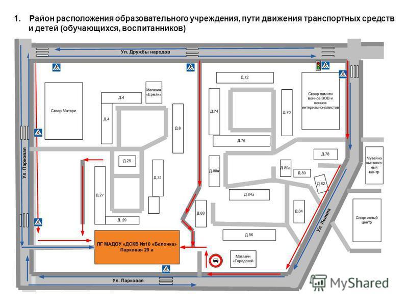 1. Район расположения образовательного учреждения, пути движения транспортных средств и детей (обучающихся, воспитанников)