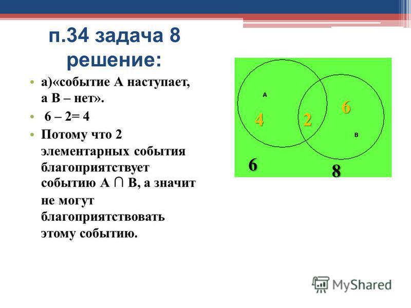 п.34 задача 8 решение: а)«событие А наступает, а В – нет». 6 – 2= 4 Потому что 2 элементарных события благоприятствует событию А В, а значит не могут благоприятствовать этому событию. 42 6 6 8