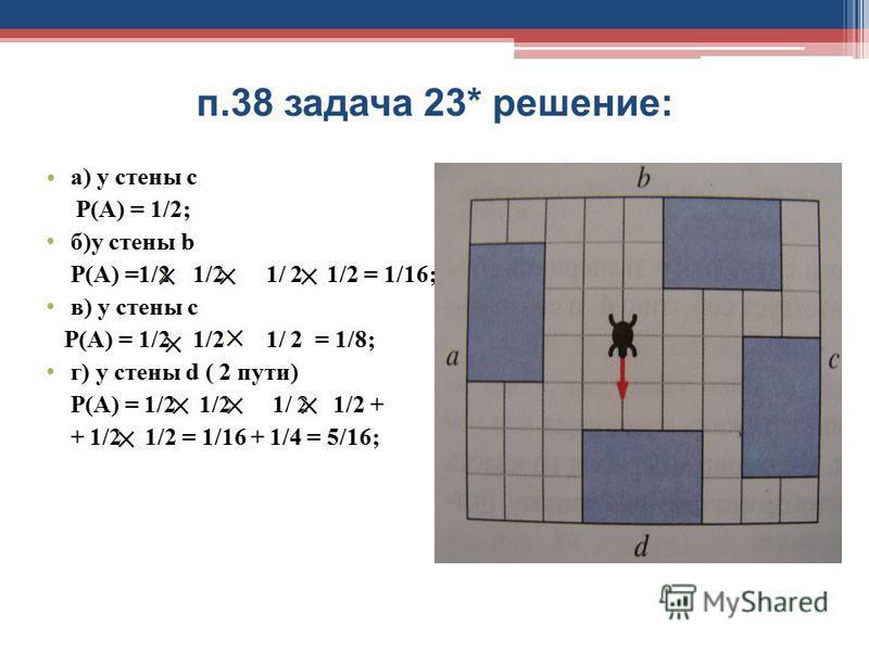 п.38 задача 23* решение: а) у стены с Р(А) = 1/2; б)у стены b Р(А) =1/2 1/2 1/ 2 1/2 = 1/16; в) у стены с Р(А) = 1/2 1/2 1/ 2 = 1/8; г) у стены d ( 2 пути) Р(А) = 1/2 1/2 1/ 2 1/2 + + 1/2 1/2 = 1/16 + 1/4 = 5/16;