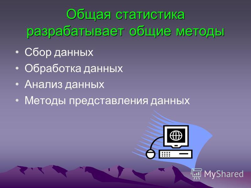 Общая статистика разрабатывает общие методы Сбор данных Обработка данных Анализ данных Методы представления данных