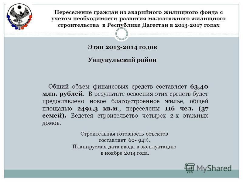 Этап 2013-2014 годов Унцукульский район Общий объем финансовых средств составляет 63,40 млн. рублей. В результате освоения этих средств будет предоставлено новое благоустроенное жилье, общей площадью 2491,3 кв.м., переселены 116 чел. (37 семей). Веде
