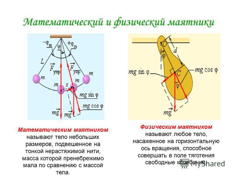 Математический и физический маятники Математическим маятником называют тело небольших размеров, подвешенное на тонкой нерастяжимой нити, масса которой пренебрежимо мала по сравнению с массой тела. Физическим маятником называют любое тело, насаженное