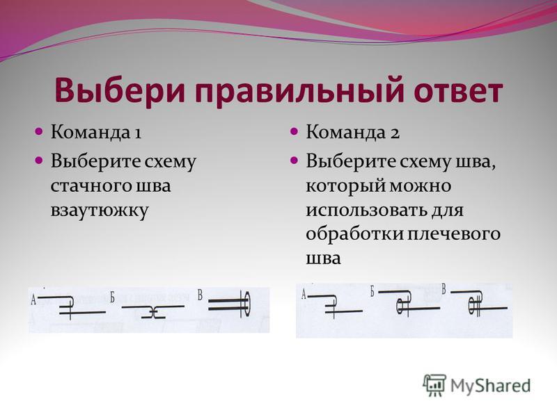 Выбери правильный ответ Команда 1 Выберите схему стачного шва взаутюжку Команда 2 Выберите схему шва, который можно использовать для обработки плечевого шва