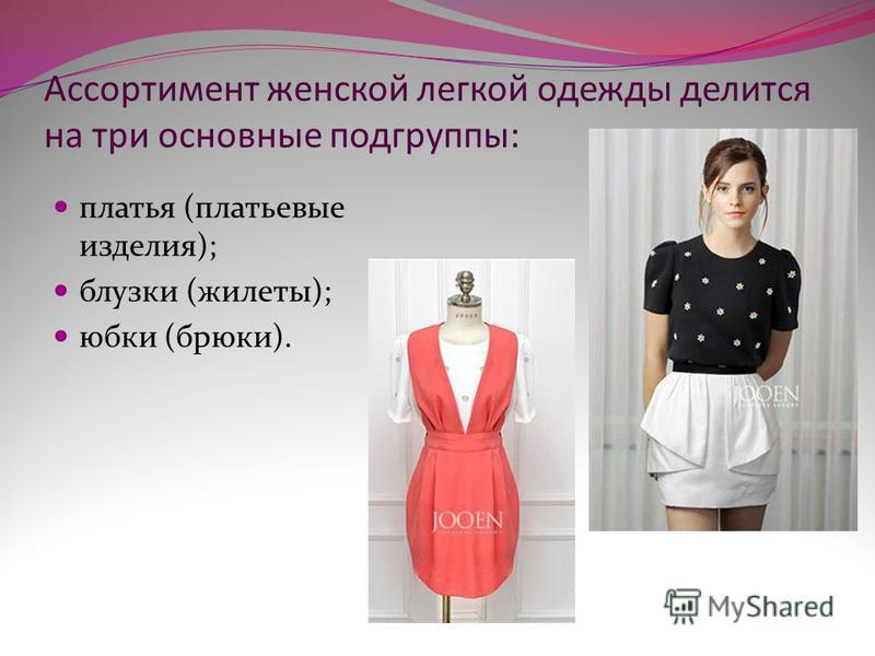 Ассортимент женской легкой одежды делится на три основные подгруппы: платья (платьевые изделия); блузки (жилеты); юбки (брюки).