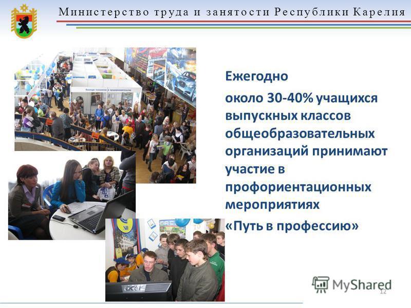 Министерство труда и занятости Республики Карелия 12 Ежегодно около 30-40% учащихся выпускных классов общеобразовательных организаций принимают участие в профориентационных мероприятиях «Путь в профессию»