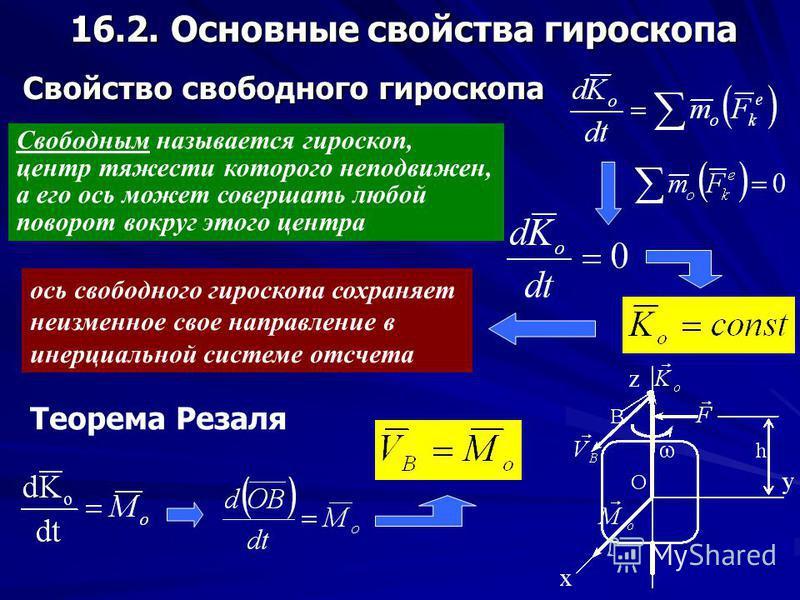 16. ПРИБЛИЖЕННАЯ ТЕОРИЯ ГИРОСКОПА 16.1. Элементарное представление о гироскопе Гироскопом называется твердое тело, имеющее ось, которая при вращении тела может изменять свою ориентацию в пространстве Симметричный гироскоп, ось вращения которого являе