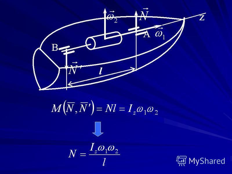 Гироскопический эффект - гироскопическая пара Правило Жуковского: если быстро вращающемуся гироскоп у придать вынужденное прецессионное движение, то на подшипники, в которых закреп- лена его ось, будут действовать силы, образующие пару, с мо- ментом,
