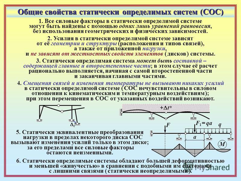 Общие свойства статически определимых систем (СОС) 1. Все силовые факторы в статически определимой системе могут быть найдены с помощью одних лишь уравнений равновесия, без использования геометрических и физических зависимостей. 5. Статически эквивал