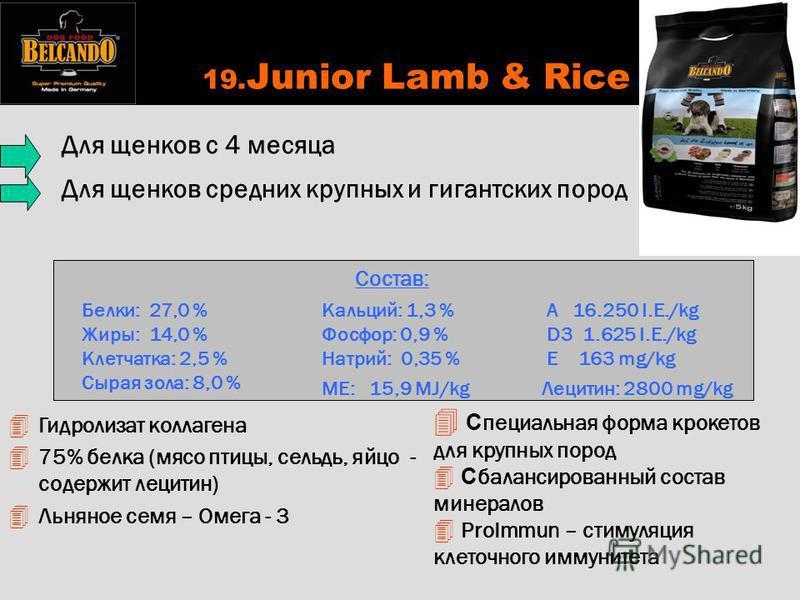 19. Junior Lamb & Rice С пециальная форма крокетов для крупных пород С балансированный состав минералов 4 ProImmun – стимуляция клеточного иммунитета Состав: Белки: 27,0 % Жиры: 14,0 % Клетчатка: 2,5 % Сырая зола: 8,0 % Кальций: 1,3 % Фосфор: 0,9 % Н