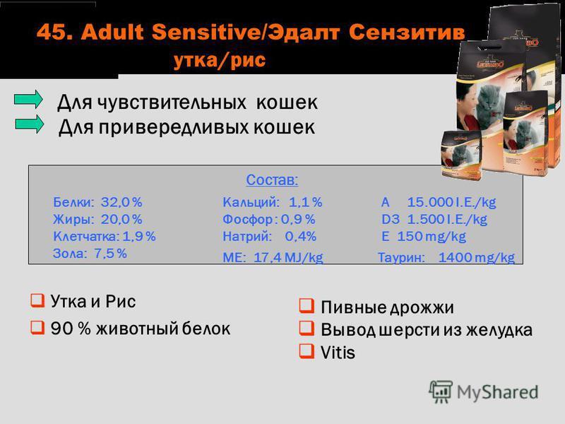 Пивные дрожжи Вывод шерсти из желудка Vitis Состав: Белки: 32,0 % Жиры: 20,0 % Клетчатка: 1,9 % Зола: 7,5 % Кальций: 1,1 % Фосфор : 0,9 % Натрий: 0,4% ME: 17,4 MJ/kg A 15.000 I.E./kg D3 1.500 I.E./kg E 150 mg/kg Таурин: 1400 mg/kg Для чувствительных