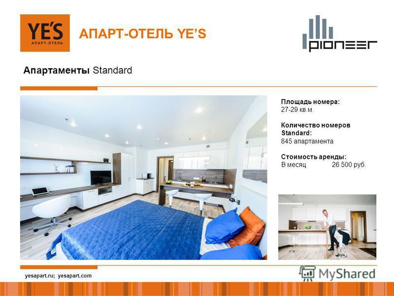 yesapart.ru АПАРТ-ОТЕЛЬ YES Апартаменты Standard Площадь номера: 27-29 кв.м. Количество номеров Standard: 845 апартамента Стоимость аренды: В месяц 26 500 руб. yesapart.ru; yesapart.com