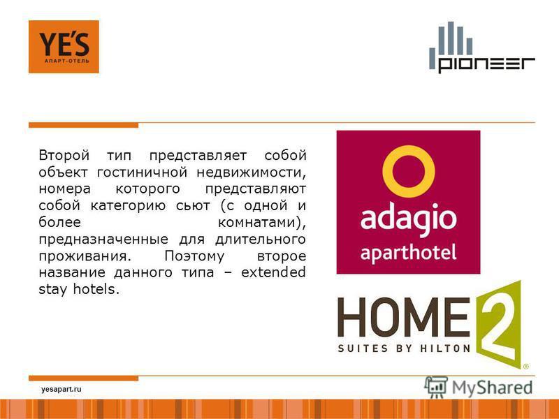yesapart.ru Второй тип представляет собой объект гостиничной недвижимости, номера которого представляют собой категорию сьют (с одной и более комнатами), предназначенные для длительного проживания. Поэтому второе название данного типа – extended stay