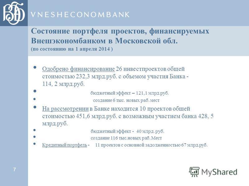 7 Состояние портфеля проектов, финансируемых Внешэкономбанком в Московской обл. (по состоянию на 1 апреля 2014 ) Одобрено финансирование 26 инвестпроектов общей стоимостью 232,3 млрд.руб. с объемом участия Банка - 114, 2 млрд.руб. бюджетный эфект – 1