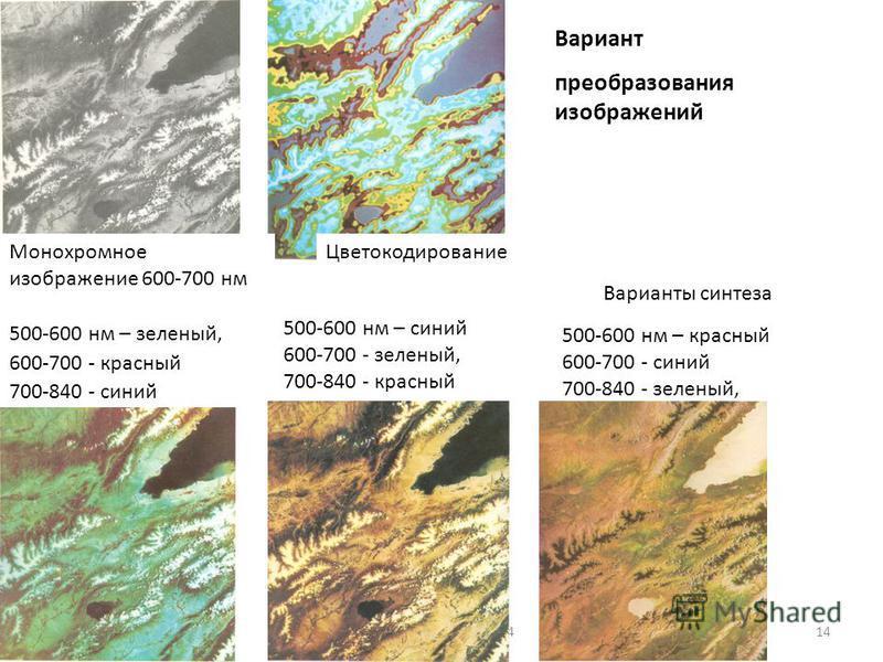 геологи-лекция-7-201414 Вариант преобразования изображений Монохромное изображение 600-700 нм Цветокодирование Варианты синтеза 500-600 нм – зеленый, 600-700 - красный 700-840 - синий 500-600 нм – синий 600-700 - зеленый, 700-840 - красный 500-600 нм