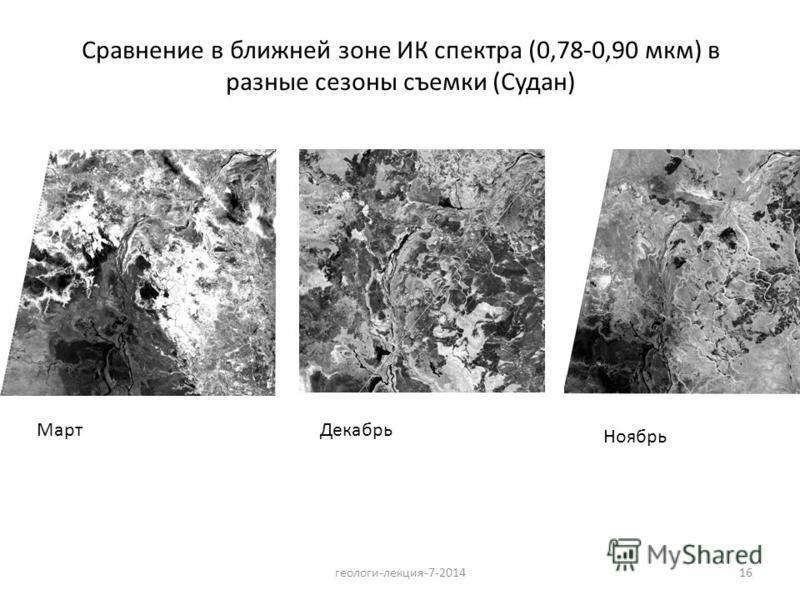 геологи-лекция-7-201416 Сравнение в ближней зоне ИК спектра (0,78-0,90 мкм) в разные сезоны съемки (Судан) Март Декабрь Ноябрь