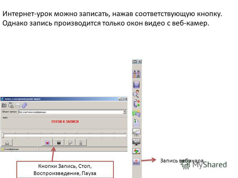 Запись вебинара Кнопки Запись, Стоп, Воспроизведение, Пауза Интернет-урок можно записать, нажав соответствующую кнопку. Однако запись производится только окон видео с веб-камер.