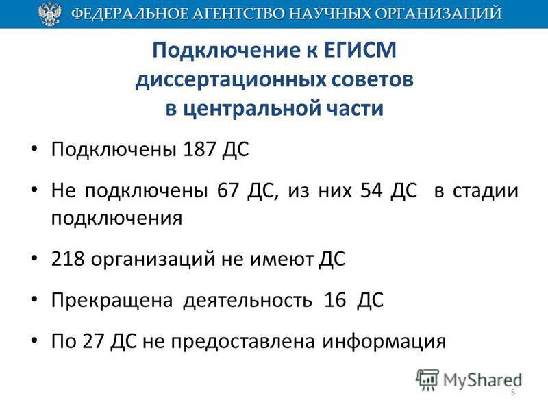 Подключение к ЕГИСМ диссертационных советов в центральной части Подключены 187 ДС Не подключены 67 ДС, из них 54 ДС в стадии подключения 218 организаций не имеют ДС Прекращена деятельность 16 ДС По 27 ДС не предоставлена информация 5