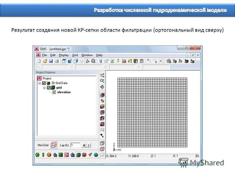 Результат создания новой КР-сетки области фильтрации (ортогональный вид сверху)