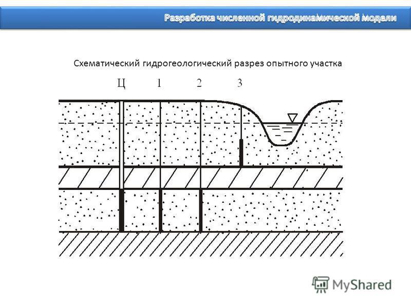 Схематический гидрогеологический разрез опытного участка