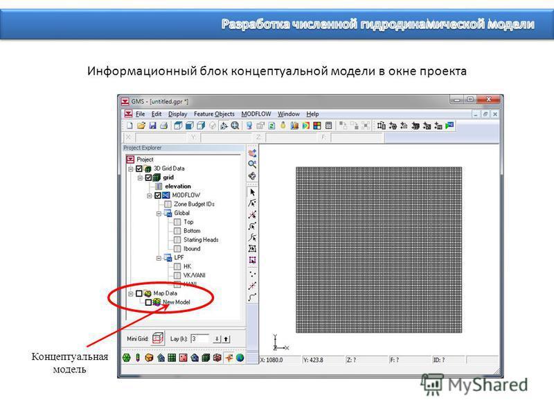 Информационный блок концептуальной модели в окне проекта Концептуальная модель