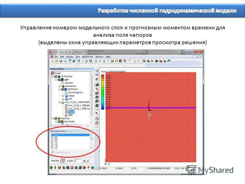 Управление номером модельного слоя и прогнозным моментом времени для анализа поля напоров (выделены окна управляющих параметров просмотра решения)
