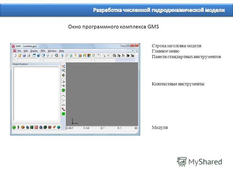 Окно программного комплекса GMS Строка заголовка модели Главное меню Панели стандартных инструментов Контекстные инструменты Модули