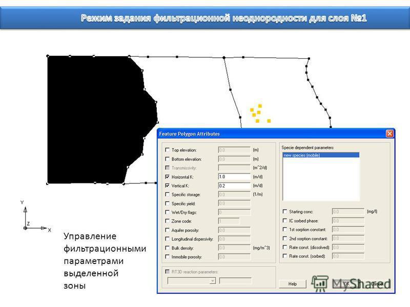 Управление фильтрационными параметрами выделенной зоны