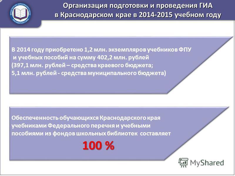 В 2014 году приобретено 1,2 млн. экземпляров учебников ФПУ и учебных пособий на сумму 402,2 млн. рублей (397,1 млн. рублей – средства краевого бюджета; 5,1 млн. рублей - средства муниципального бюджета) В 2014 году приобретено 1,2 млн. экземпляров уч