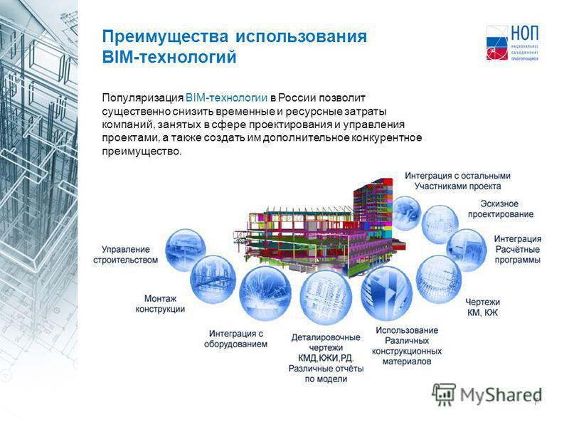 7 Популяризация BIM-технологии в России позволит существенно снизить временные и ресурсные затраты компаний, занятых в сфере проектирования и управления проектами, а также создать им дополнительное конкурентное преимущество. Преимущества использовани