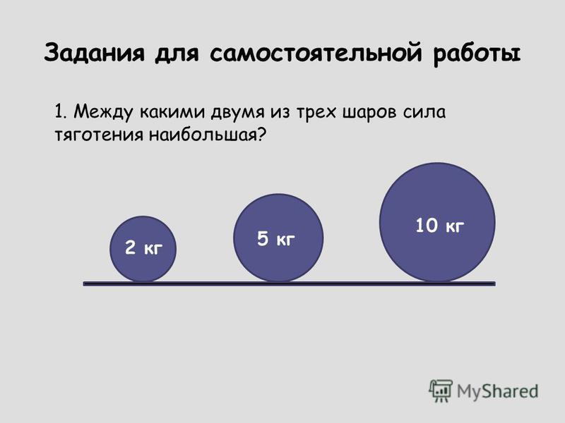 Задания для самостоятельной работы 1. Между какими двумя из трех шаров сила тяготения наибольшая? 2 кг 5 кг 10 кг