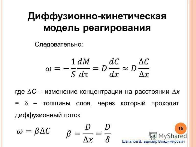 Шагалов Владимир Владимирович Диффузионно-кинетическая модель реагирования Следовательно: где С – изменение концентрации на расстоянии x = – толщины слоя, через который проходит диффузионный поток 15