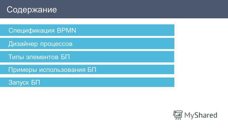 Содержание Спецификация BPMN Дизайнер процессов Типы элементов БП Примеры использования БП Запуск БП