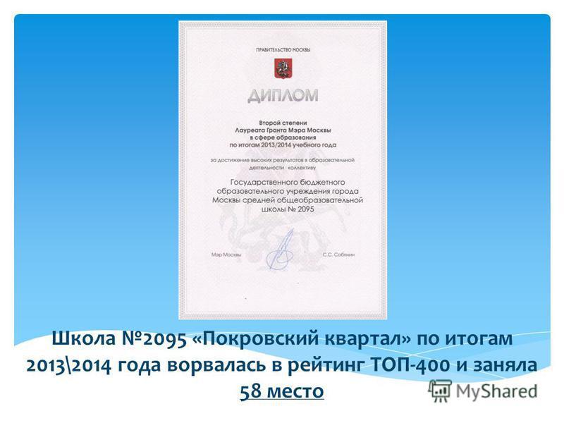 Школа 2095 «Покровский квартал» по итогам 2013\2014 года ворвалась в рейтинг ТОП-400 и заняла 58 место