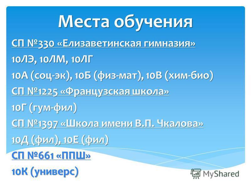 Места обучения СП 330 «Елизаветинская гимназия» 10ЛЭ, 10ЛМ, 10ЛГ 10А (соц-эк), 10Б (физ-мат), 10В (хим-био) СП 1225 «Французская школа» 10Г (гум-фил) СП 1397 «Школа имени В.П. Чкалова» 10Д (фил), 10Е (фил) СП 661 «ППШ» 10К (универс)