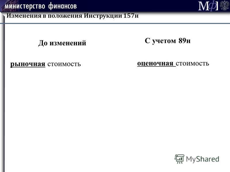 Изменения в положения Инструкции 157 н До изменений рыночная стоимость С учетом 89 н оценочная стоимость
