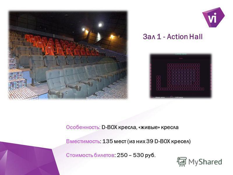 ` Особенность: D-BOX кресла, «живые» кресла Вместимость: 135 мест (из них 39 D-BOX кресел) Стоимость билетов: 250 – 530 руб. Зал 1 - Action Hall